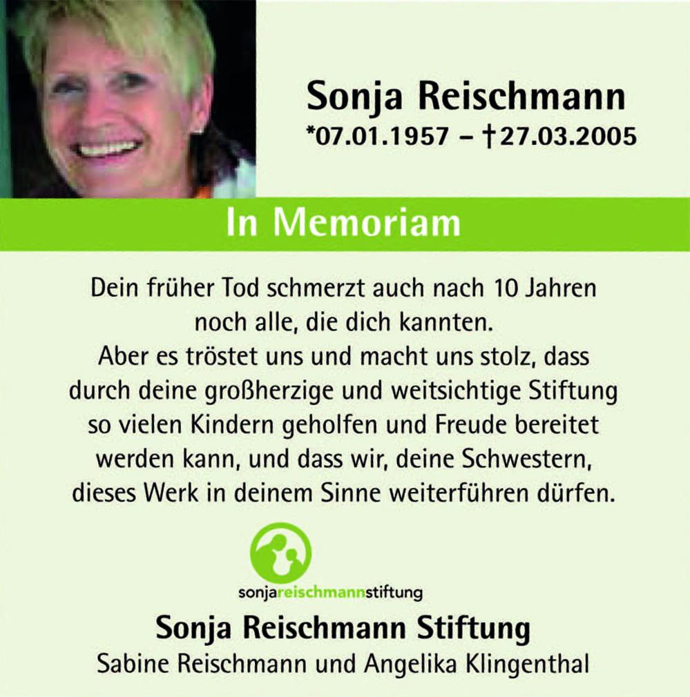 Sonja Reischmann Stiftung Ravensburg - In Erinnerung